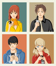 Group of cartoon young people with smart phones