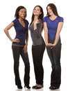 Group of casual women beautiful three having fun on white background Stock Image
