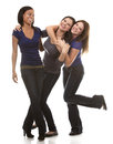 Group of casual women beautiful three having fun on white background Royalty Free Stock Photos