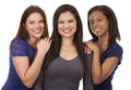 Group of casual women beautiful three having fun on white isolated background Stock Images