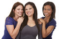 Group of casual women beautiful three having fun on white isolated background Royalty Free Stock Image