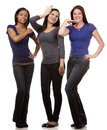 Group of casual women beautiful three having fun on white isolated background Royalty Free Stock Images