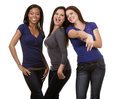 Group of casual women beautiful three having fun on white isolated background Stock Photos