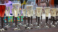Group of Champagne glasses filled with bubbles Royalty Free Stock Photo