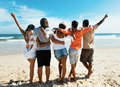 Group of cheering young adults at beach Royalty Free Stock Photo