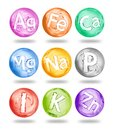 Group of chemical minerals and microelements Royalty Free Stock Photo