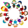 Group of children for christmas tree Royalty Free Stock Photos