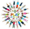 Group of Children in Circle and Play Concept