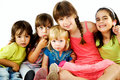 Group children hugging Royalty Free Stock Images