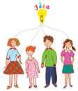 Group of children with idea bulb illustration Stock Photography