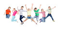 Group of children jumping at white isolated studio background Royalty Free Stock Photo
