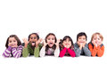 Group of children making faces funny isolated in white Royalty Free Stock Photo