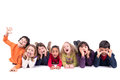 Group of children making faces funny isolated in white Stock Photo