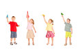 Group of children playing with paper airplanes starting them fly up isolated on white background Stock Photos