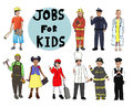 Group of children with professional occupation concept Royalty Free Stock Photos