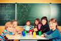 Group of children school studying in classroom Royalty Free Stock Photography