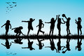 Group of children silhouettes playing outdoor black Royalty Free Stock Photography