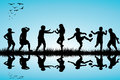 Group of children silhouettes playing outdoor near black a lake Stock Images