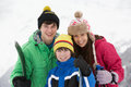 Group Of Children On Ski Holiday In Mountains Stock Images