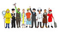 Group of children with various occupations concept multiethnic Royalty Free Stock Images