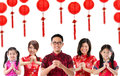 Group of Chinese people greeting Royalty Free Stock Photos