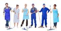 Group of cleaners with mop Royalty Free Stock Photo