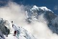 Group of climbers on mountains montage to mounts kangtega and thamserku everest area khumbu valley nepal Royalty Free Stock Photos