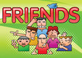 Group of close boy friend cartoon on gradient green background and halftone capture while flying bird in frame,