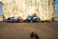 Group of clothes ready to be given away the local village people gouina falls mali Stock Photo