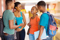 Group college students of african american having conversation Royalty Free Stock Photo