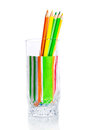 Group of colored pencils in a glass cup Royalty Free Stock Photo