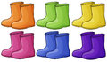 A group of colorful boots illustration on white background Stock Photos