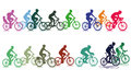 Group of colorful cyclists illustration different colored in two groups on white background Royalty Free Stock Image