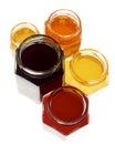 Group of colorful hexagonal jars Royalty Free Stock Photos