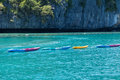 Group of colorful kayaks floting on andaman sea Stock Photo
