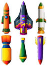 A group of colorful rockets illustration on white background Royalty Free Stock Photo