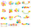 Group of Colour Glossy Helium Balloons Isolated on Transperent Background. Set of Balloons and Flags for Birthd Royalty Free Stock Photo