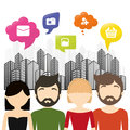 Group communication bubble speech urban background Royalty Free Stock Photo