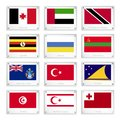 Group of countries flags on metal texture plates udmurtia united arab emirates trinidad and tobago uganda ukraine transnistria Royalty Free Stock Images