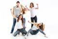 Group of crazy young people team four women and handsome boy Stock Images