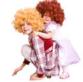 Group of curly child in doll costume. Royalty Free Stock Photo