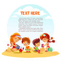 Group of cute little boys and girls playing with sand on summer beach vector illustration banner concept place for your text Stock Photos
