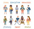 Group of cute multicultural students. Cartoon hand drawn modern people holding books and laptop. Flat vector illustration