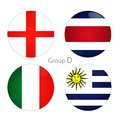 Group d england costa rica italy uruguay at world cup Stock Image
