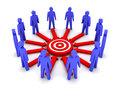 Group of d people working towards a common target concept illustration Stock Photo