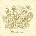 Group of decorative mushrooms. Cute mushrooms illustration, hand drawn collection.