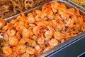 group of delicious streaming jumbo shrimps prawn in Thai street Royalty Free Stock Photo