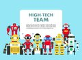 Group of different abstract robots standing together on blue background in flat style. High-tech team concept. Flat