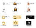 Group of different coffee cup logos steaming cups in assorted colors for use as slogans designs marketing graphics Royalty Free Stock Photos