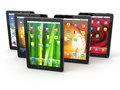 Group digital tablet pc different screen backgrounds d Stock Image